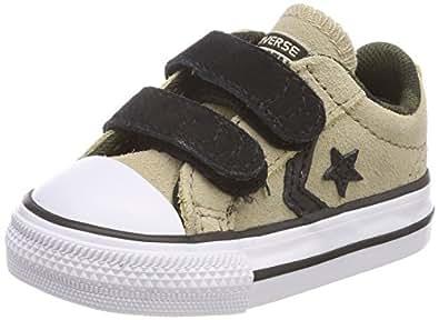 Converse Unisex Baby Star Player EV 2V OX Vintage Khaki/White Hausschuhe, Braun (Vintage Khaki/White/Black 253), 21 EU