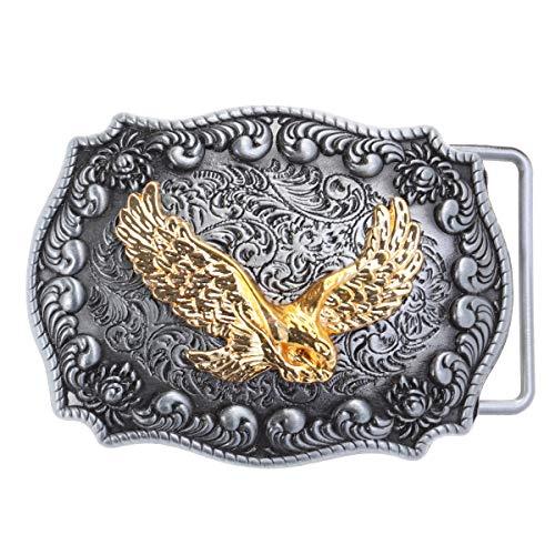 TENDYCOCO Hebilla del cinturón del águila Dorada Marco de rectángulo Hecho a Mano Hebilla del cinturón (pies encogidos)