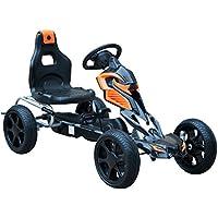 Homcom Kart à pédales Go-Kart Enfants 122L x 60l x 70H cm pneus gonflables siège réglable Orange Noir 07