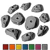 ALPIDEX 10 M/L Klettergriffe im Set verschieden geformte Leisten mit felsähnlicher Struktur in vielen Farben, Farbe:Grey Stone