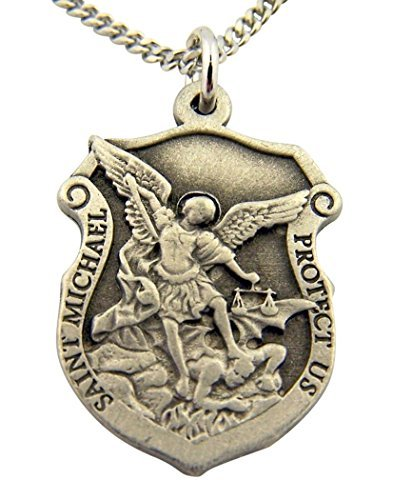 Kostüm Michael St Jungen - Religious Gifts Medaille in Form eines Heiligen Michael Protect US, 2,5 cm, silberfarben