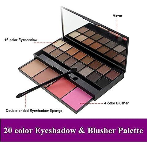 MEIWEI 20 color distribución set de sombras blush reparación capacidad doble vaivén cepillos de cabeza doble