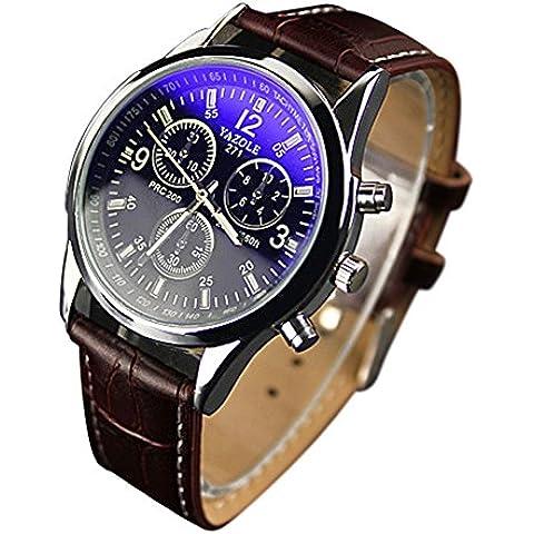 OUMOSI da uomo lega caso orologio da polso al quarzo luce posteriore in pelle Band orologi A01