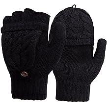 Women's Gloves Thermal Heat Mittens - Digitek Winter Warm Gloves Heat Weaver Cable Knit, Half-Finger Gloves for Ladies and Girls - Christmas Birthday Gift