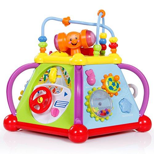 SGILE Sgile Motorikwürfel mit Lichter und Musik, Spielwürfel Musikalische Aktivität Würfel Spielzentrum Cube Multifunktionales Spiel für Kleinkinder und Kinder Kindergeschenk