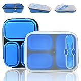 Lunchbox aus Silikon/Faltbare Lunchbox - Zusammenklappbar Lebensmittelbehälter mit 3 Abteil - Auslaufsicher Mikrowelle Gefrierschrank und Geschirrspüler Sicher