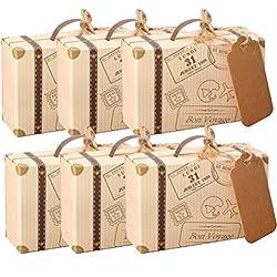 Lot de 50 pièces de mini-valise AmaJOY - idée cadeaux à offrir aux invités de mariage - avec papier Kraft- bonbonnière en toile de jute pour fête d'anniversaire, fête prénatale et décor de mariage