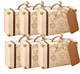 AmaJOY Mini-Koffer, Gastgeschenkbox für Hochzeiten mit Anhängeschildchen aus Kraftpapier und Leinenschnur, Süßigkeitenschachtel für Geburtstagsfeier/Babyparty/Hochzeitsdekor, 50 Stück