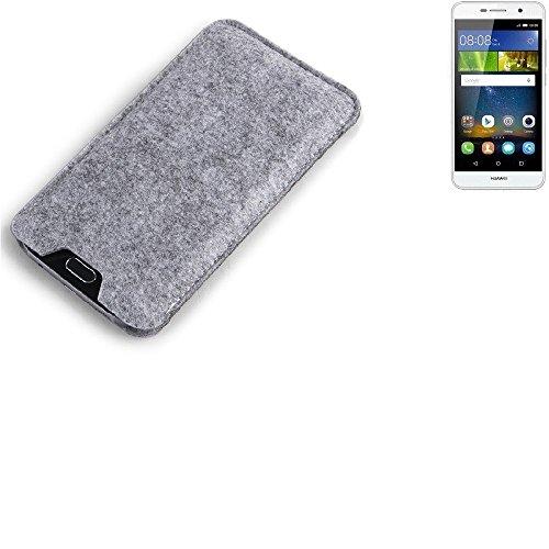 K-S-Trade Filz Schutz Hülle für Huawei Y6Pro LTE Schutzhülle Filztasche Filz Tasche Case Sleeve Handyhülle Filzhülle grau