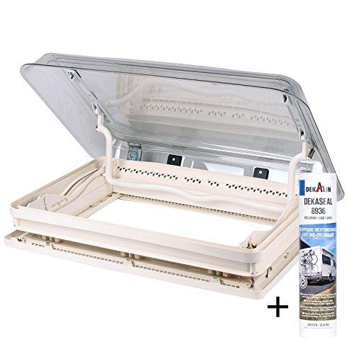 Preisvergleich Produktbild Dometic Midi Heki 70 x 50 cm für Dachstärke 30-34 mm mit Zwangsbelüftung + Dekalin Dichmittel für Wohnwagen oder Wohnmobil