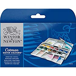 Winsor & Newton Cotman 1 caja de 12 x medio godets de acuarelas bolsillo