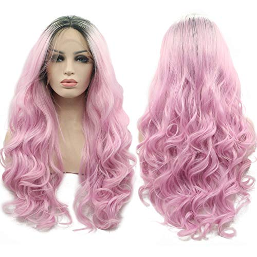 Myfashionhair Ombre Rose Gold Lace Front Wg Dark Rooted