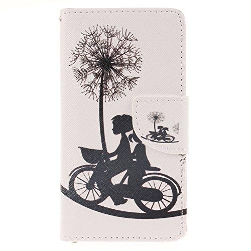 Anlike für Samsung Galaxy A3 (4,5 Zoll) Hülle / Handyhülle / Schutzhülle / Ledertasche / Tasche / Case / Cover / Flip Brieftasche / Bookstyle mit Standfunktion Kredit Karteneinschub und Magnetverschluß - Liebhaber Fahrrad