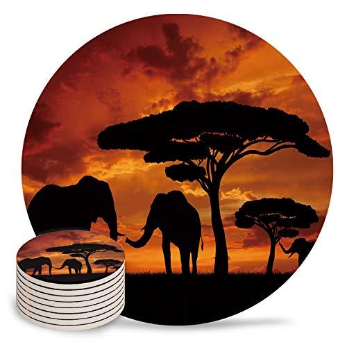 Posavasos de cerámica para bebidas, diseño de elefantes africanos, con base de...