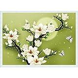 SODIAL(R)DIY Handmade Ricamo Punto Croce Set Embroidery Kit 3D precisa Magnolia stampato farfalla del fiore di disegno punto croce