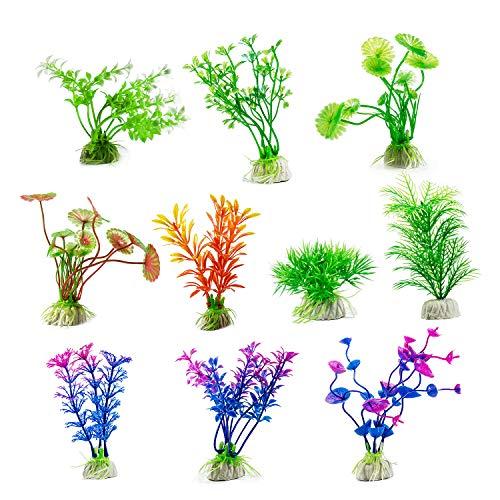 Jolintek 10 Stück künstliche Wasserpflanzen, Aquariumpflanze Fisch Tank Kunststoff dekorative Aquarium Pflanzen Dekoration Aquarium Landschaft