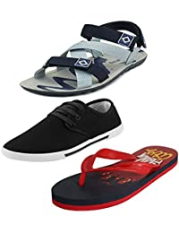 Earton Multicolor Men Combo Pack of 3 Sandals & Floaters with Casual Shoe and Flip-Flops