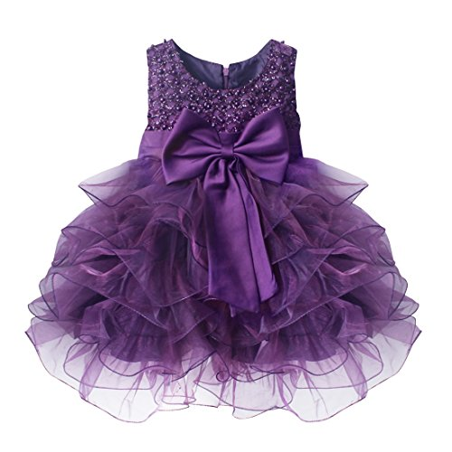 TiaoBug Baby Girls Princess Bowknot Dress Wedding Pageant Communion Party  Dresses Purple 6 9 Months