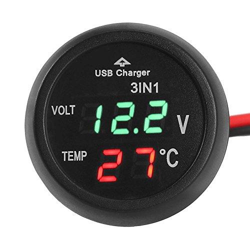 Moto 2 in 1 Voltmetro//Termometro su Presa Accendisigari Ideale per Auto ATEC Barche e Camion