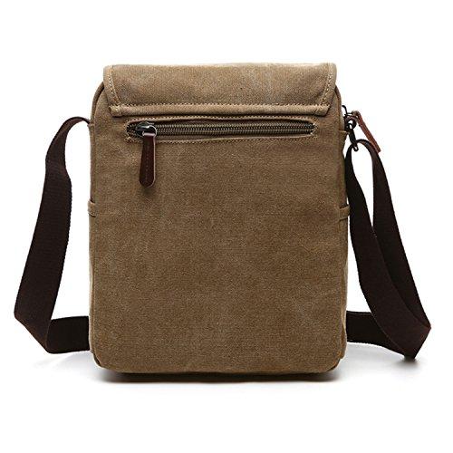 Outreo Umhängetasche Herren Schultertasche Vintage Taschen Kuriertasche Herrentaschen Retro Messenger Bag für Tablet Sporttaschen Schule Reisetasche Beige
