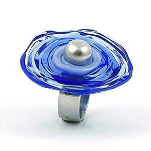 Edelstahl-Ring in Blau mit Scheibe aus Murano-Glas | passt immer | verstellbar (16-21) | Wechsel-Ring | Personalisiertes Geschenk für sie zu Valentinstag Jahrestag Hochzeit Geburtstag Mama