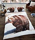 Hi Brands 3D Bear Duvet Quilt Cover Bedding Set with Pillowcases (Single, Bear)