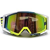 BJ Global - Gafas de motocross antidistorsión a prueba de polvo, gafas de esquí resistente al viento, gafas para adulto para evitar la suciedad en moto o bicicleta, con espuma suave y lentes transparentes, White_Blue