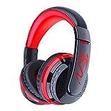 IMODA Stereo Gaming Headset Bluetooth Kopfhörer Audio 3.5mm Jack Sport Kopfhörer Leichtgewicht für Laptop PC Computer Spiel mit Noise Cancelling & Lautstärkeregelung (Schwarz + Rot 2)