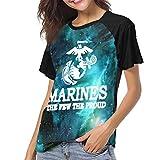 HarryShort Frauen Baseball Uniform mit kurzen Ärmeln T-Shirt USMC die wenigen das stolze Marinesoldaten-Logo Bedrucktes T-Shirt für Erwachsene Sport Wear T-Shirts Jerseys