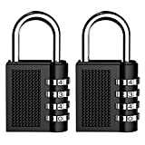 Kungix Combination Security Padlock, 4 Digit Resettable Code Lock, Black Pack of