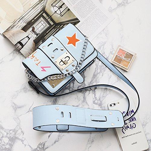 Stern kleine quadratische tasche schlagfarbe Schulterbeutel diagonale Weibliche paket Blau