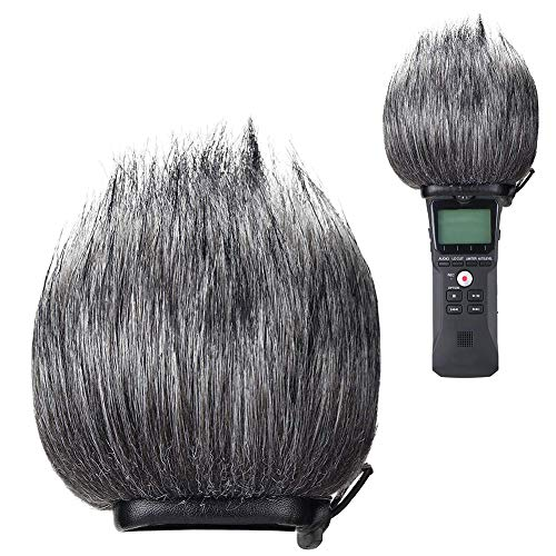 Dyda6 Parabrezza per Microfono, cancellazione del Rumore, in Pelo, Rimovibile, per registratore Digitale Portatile Zoom H1, Grigio, Taglia Libera