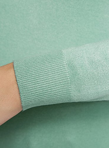 oodji Collection Damen Viskose-Pullover Basic mit V-Ausschnitt Grün (6500N)