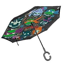 Ninja Squad Teenage Mutant Selbstmord Schildkröten Double Layer Inverted Umbrella für Auto Reverse Folding Upside Down C-förmige Hände - Leicht & Winddicht & ndash