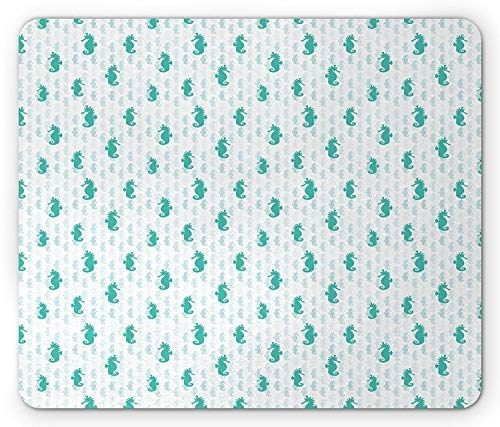 Abstract Silhouettes in Green and Faded Colors Aquarium Life Tropical Nature, Standard Size Rectangle Non-Slip Rubber Mousepad, Sea Green White ()