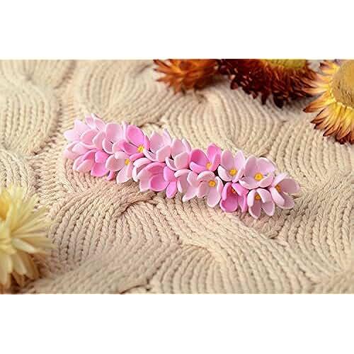 figuras kawaii porcelana fria Pinza para el pelo de porcelana fria artesanal elegante de color rosado para chica