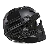 WLXW Airsoft E Paintball Shooting Tactical Quick Shield + ABS Tactical Mask con Occhiali, Elmetto Protettivo PJ Fast Molle, CS War Shooting War Game,Black