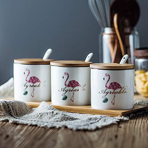 Gsqi contenitore per condimenti set di spezie in ceramica con coperchi in legno, cucchiaio da portata e vassoio in legno per casa e cucina