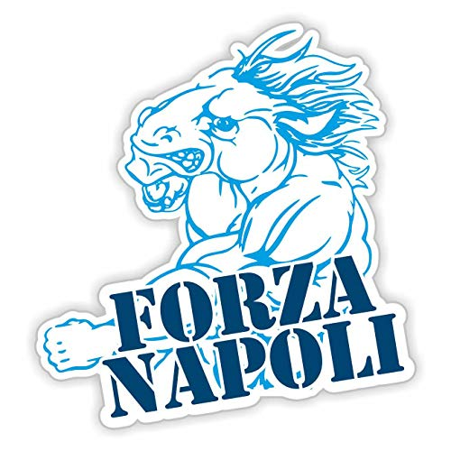 erreinge Sticker Forza Napoli Ciuccio Adesivo Sagomato in PVC per Decalcomania Parete Murale Auto Moto Casco Camper Laptop - cm 35