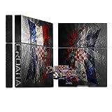 Zerrissen Flagge Kroatien, Designfolie Sticker Skin Aufkleber Schutzfolie mit Farbenfrohem Design für Playstation 4 CUH 1000 1100