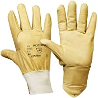 Rostaing EPS7BPA Water-Repellent Grain Leather Gloves with Scotchgard Guantes, Mujer, Beige, XS