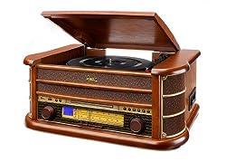 Dual NR 4 Nostalgie Musikanlage mit Plattenspieler (UKW-Tuner, MW-Radio, CD-RW, MP3, USB, Kassette, Aux-In) braun