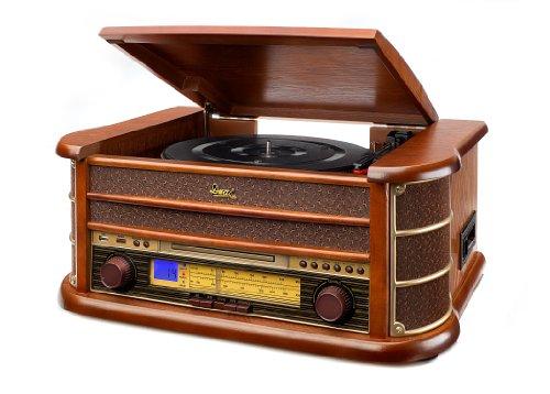 dual stereoanlage mit plattenspieler Dual NR 4 Nostalgie Musikanlage mit Plattenspieler (UKW-Tuner, MW-Radio, CD-RW, MP3, USB, Kassette, Aux-In) braun