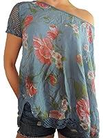 9 verschiedene Farben Damen Blusen Shirt mit Blumenmuster Gr. 44 46 48 50