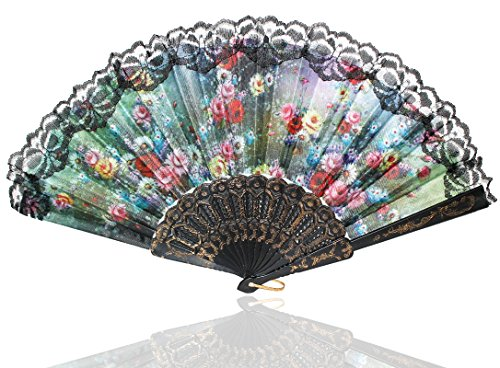 Reizender Handfächer Wind Fächer Damen Handfächer in viele Blumen-Muster -FA001-006 (FA003) (Latino-muster)