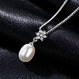LIUSHUGUANG 8-9mm Tropfen Echte Perlenkette Vintage 925 Silber Weiß und Rosa Lila Süßwasser Perle Hochzeit Anhänger,White