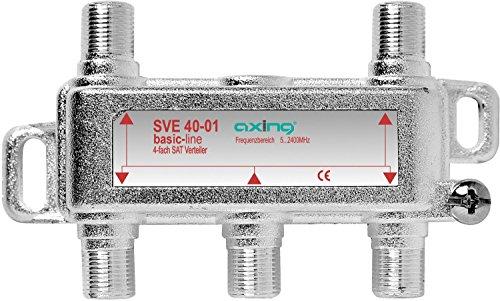 Axing SVE 40-01 4-Fach SAT-Verteiler Splitter mit DC-Durchgang für Satelliten-Anlagen Unicable DVB-T2 HD (5-2400 MHz) Class A