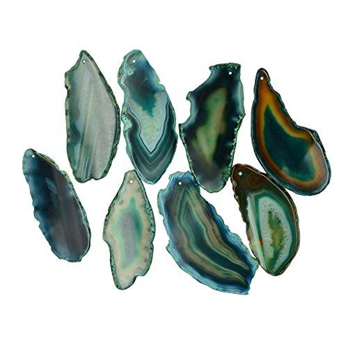 Piaceto 1pcs fascini irregolari naturali dei monili del pendente della fetta del quarzo dell'agata con il foro - verde