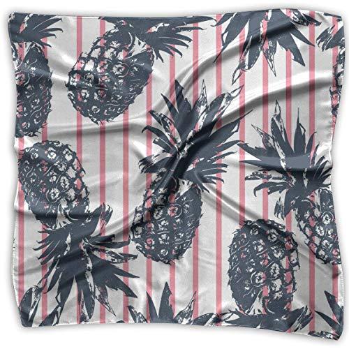 en, quadratisch, Satin, Halstuch, modisch, tropische Pflanzen, Ananas, lustig, groß, leicht, weich ()