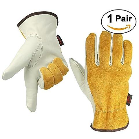 OZERO Garden Gloves, Genuine Cowhide Leather Construction Glove with Elastic Wrist for Men & Women - Good Grip & Flex for Heavy Duty/Truck Driving/Warehouse/Gardening/Farm - Lightcyan (1 Pair/Large)